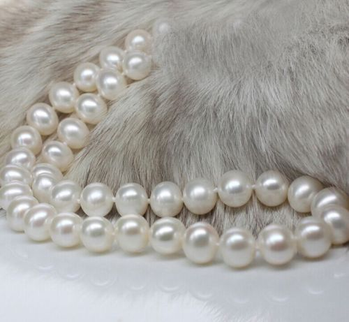 10-11 MM AAA +++ Akoya SOUTH SEA White Pearl Necklace 925silver Gold Clasp10-11 MM AAA +++ Akoya SOUTH SEA White Pearl Necklace 925silver Gold Clasp