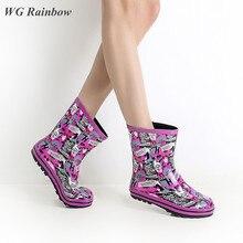 2016ขนาดบวกผู้หญิงRainbootsที่มีคุณภาพสูงสไตล์ยุโรปพิมพ์ผู้หญิงรองเท้าฝนลื่นทนเลดี้รองเท้าน้ำยาง