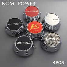 KOM 4pcs 68/62mm clip wheel caps for rims car racing work tapa center hubcaps abs & chrome vs logo emblem sticker