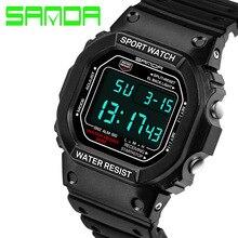 Sanda Marca Hombres Resplandor Relojes Deportivos 50 m natación Digital LED Reloj Reloj Relogio masculino Militar s choque 90g electrónica