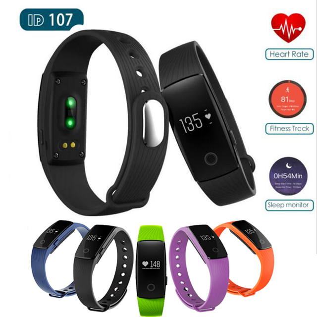 Smart band ID 107 ID107 Heart Rate Monitor Smartband Fitness Tracker Sport Wristband For Apple ios Android PK xiaomi mi band 2
