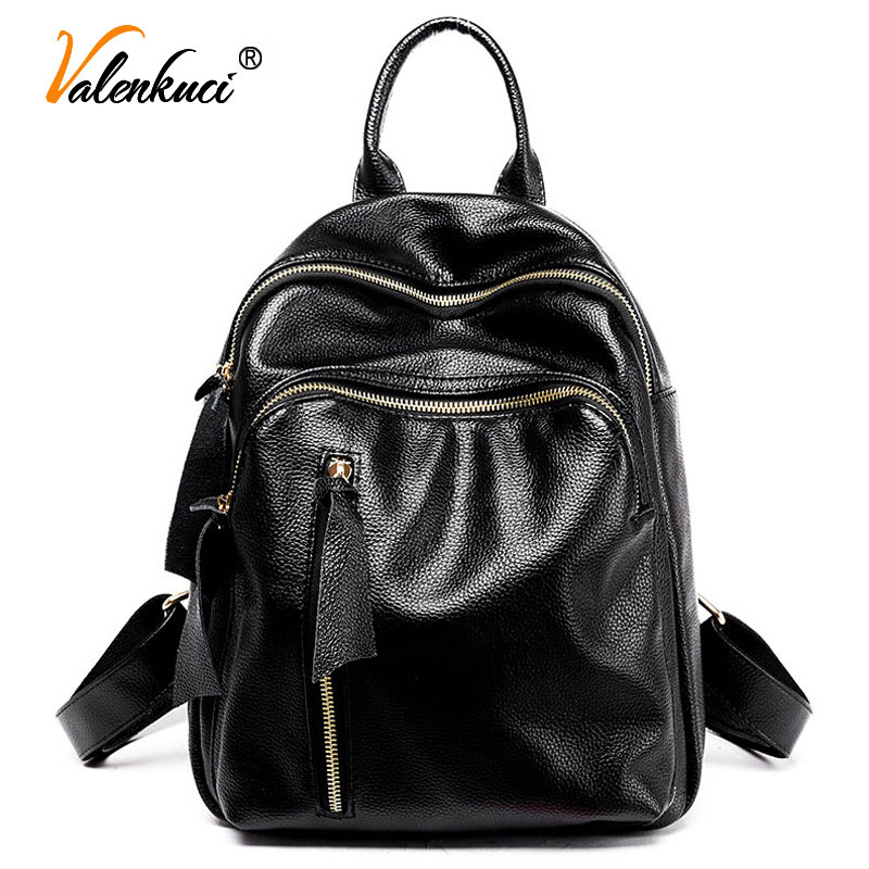 ФОТО Valenkuci Hot Sale Backpacks Women Backpack School Bags Students Bookbags Backpack For Women Travel Bags Leather Backpack BD-145