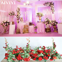 Wedding decoration artificialflower rose peony red fruit T stage background road lead flower commercial window displaydecoration