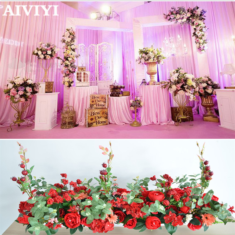 Wedding decoration artificialflower rose peony red fruit T stage background road lead flower commercial window displaydecorationWedding decoration artificialflower rose peony red fruit T stage background road lead flower commercial window displaydecoration