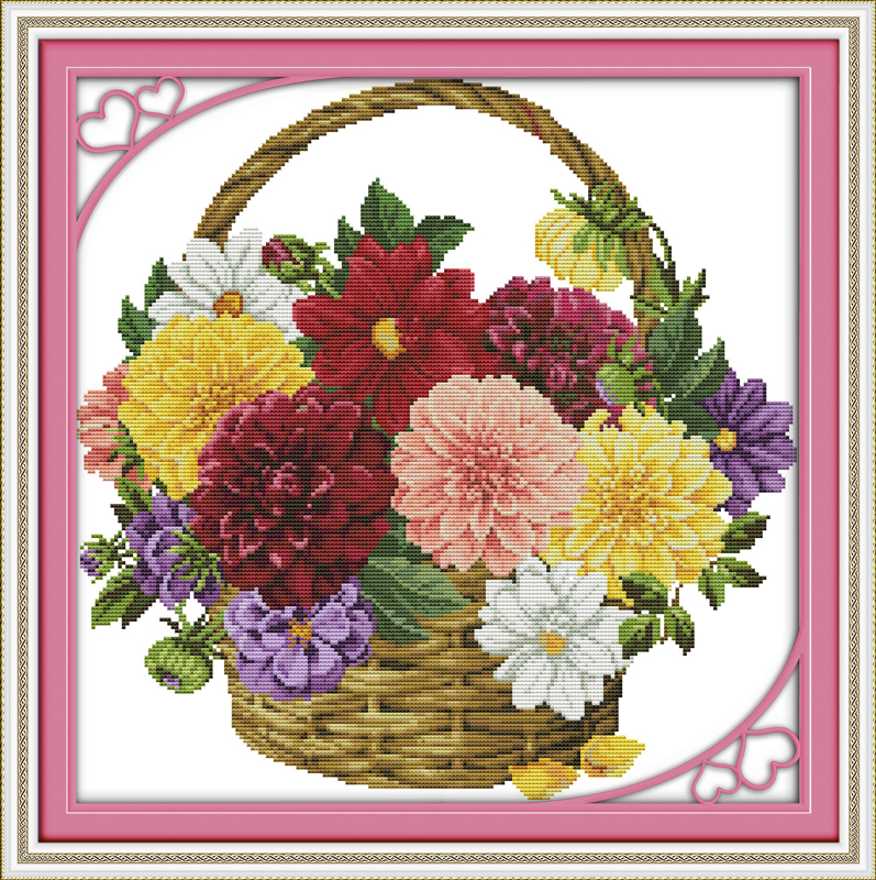 Barevný chryzantémový květinový koš Vyšívací sady 11CT, tištěné 14CT, sada pro kutily Vyšívání s výšivkou
