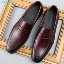 British Style Square Toe Formal Shoes Men Dress Shoes Fashion High Quality Wedding Shoes Slip On Genuine Leather Shoes цена 2017