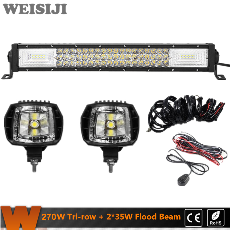 WEISIJI New 1Pcs Tri-row 270W LED Light Bar+2Pcs 35W Flood Beam LED Work Lights+2Pcs Wiring Kits Set for Jeep Truck SUV ATV UTV видеоигра бука saints row iv re elected