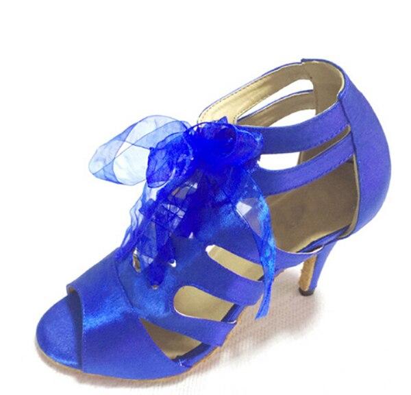 Gratis verzending Wholesale Blue Satin Latin dansschoenen SALSA Dance Ceroc Tango schoenen