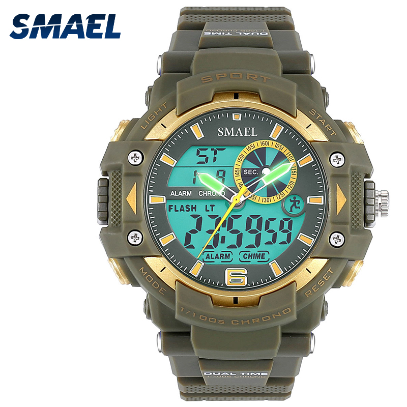 Army Green Watch Entertainment Novelty Special Use Clothing Relogio Masculino Reloj Hombre Uhren SMAEL Cool Men Watches 1379