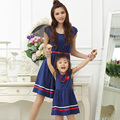 Mother Daughter Dresses 2017 Fashion Summer Dress with Belt and Necklace Girls and Women Cotton Dresses Mom and Daughter Dress