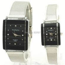Metal webbing band,silver plating rectangle case,rhinestone dotted in dial,quartz movement,womage 9366 couple fashion watches