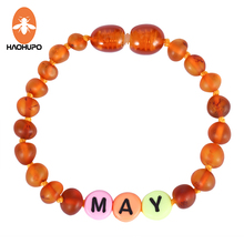 HAOHUPO Customized Name Amber Jewelry Baltic Amber Beads Mom Baby Gift Creative Design Amber Bracelet / Necklace Personalized yoowei 47cm amber necklace for women gogerous gift boho european design 5 6mm baltic amber beads collars amber jewelry wholesale