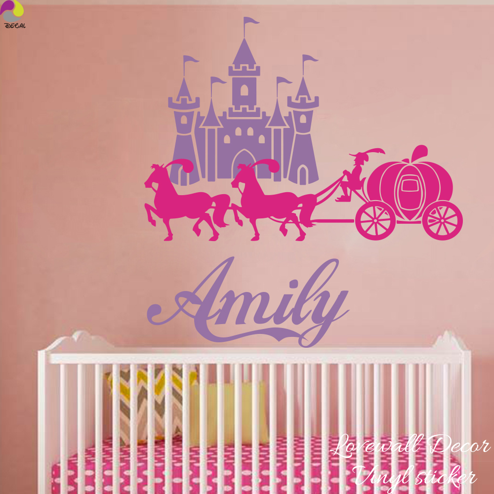 compare prices on princess bedroom furniture online shopping buy custom name castle carriage pony wall sticker girl room baby nursery personalize princess name wall decal