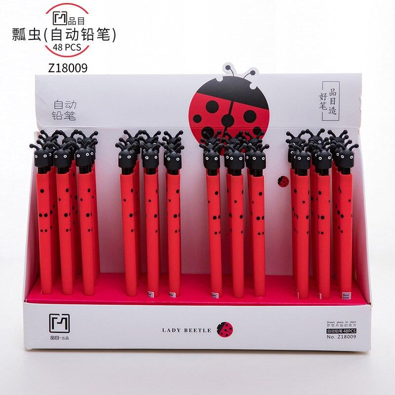 48pcs/1lot Kawaii Soft Gum ladybug press Mechanical Pencils School Office Supply Student Stationery Kids Gift Automatic Pencil