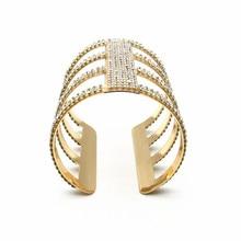 Fashion Gold Color Statement Bridal Bangles for Women Exaggerate Cuff  Bracelets Femme Punk Full Crystal Solid fc2da6f3606b