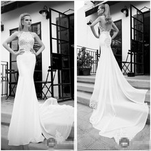 New Listing Scoop Neck Long Train Vestidos De Novia 2015 Wedding Dresses Sheath Gowns