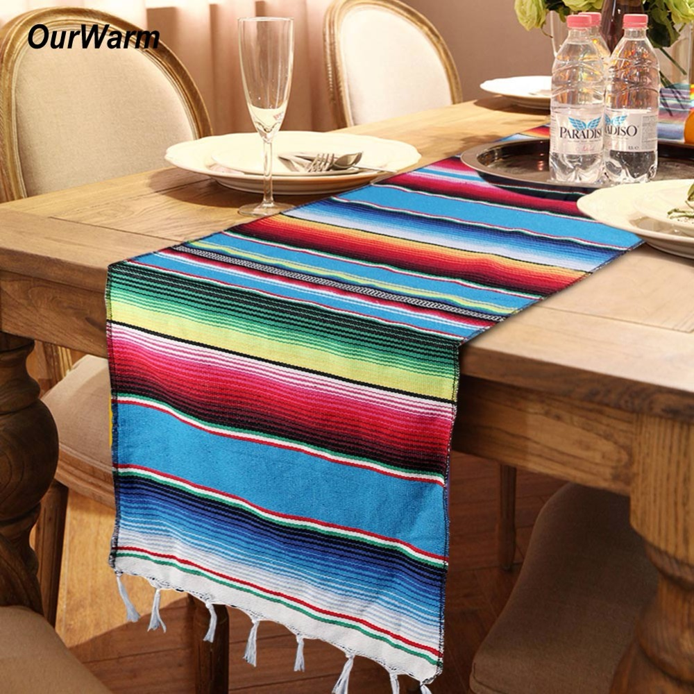 Us 7 49 40 Off Ourwarm Mexican Party Decorations Cotton Table Runner 213x35cm Serape Table Runners For Wedding Rainbow Birthday Party Supplies In