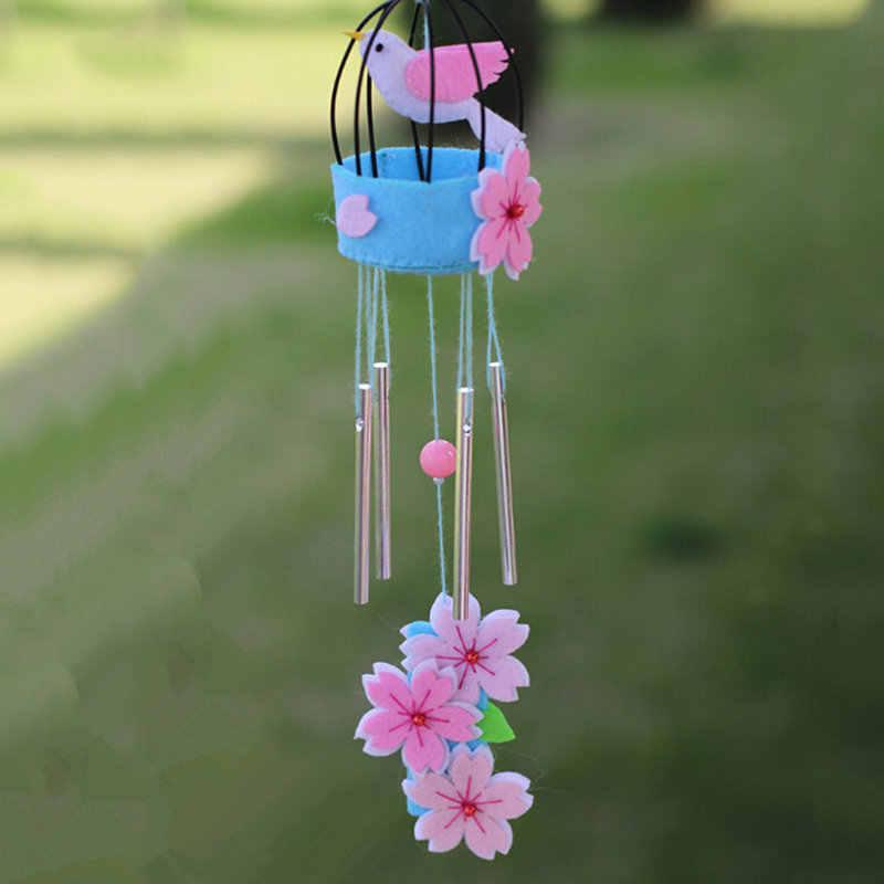 New DIY Cute Owl Flowers Sakura Chick Handmade Felt Craft Material Pack DIY Wind Chimes Door Ornaments Home Bedroom Decoration