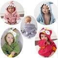 2016 Unisex Streetwear Venda Direta Macacão Corpo 2016hot Sale100 % Algodão Toalha Bonito do Animal Do Bebê Roupão de Banho Swaddle Cobertores