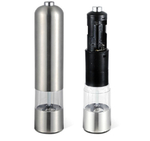 1PCS Durable Stainless Steel Electric Salt and Pepper Grinder with Light Portable Electric Salt Herb Spice Peper Mills stainless steel electric pepper grinder spices mills easy salt spice herb mills grinder salt pepper mills cooking accessories