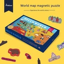 Caja de regalo de alta calidad para niños cumpleaños Navidad presenta papel mapa del mundo rompecabezas magnético mapa del mundo desarrollar inteligencia