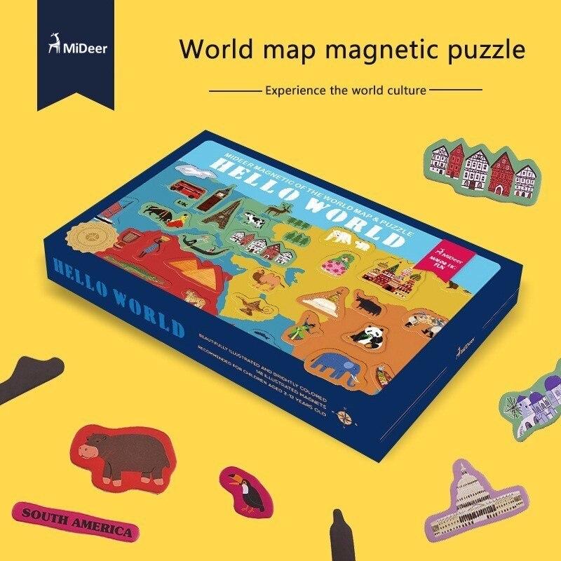 Haute qualité cadeau boîte pour enfants anniversaire noël présente papier carte du monde magnétique Puzzle carte du monde développer l'intelligence