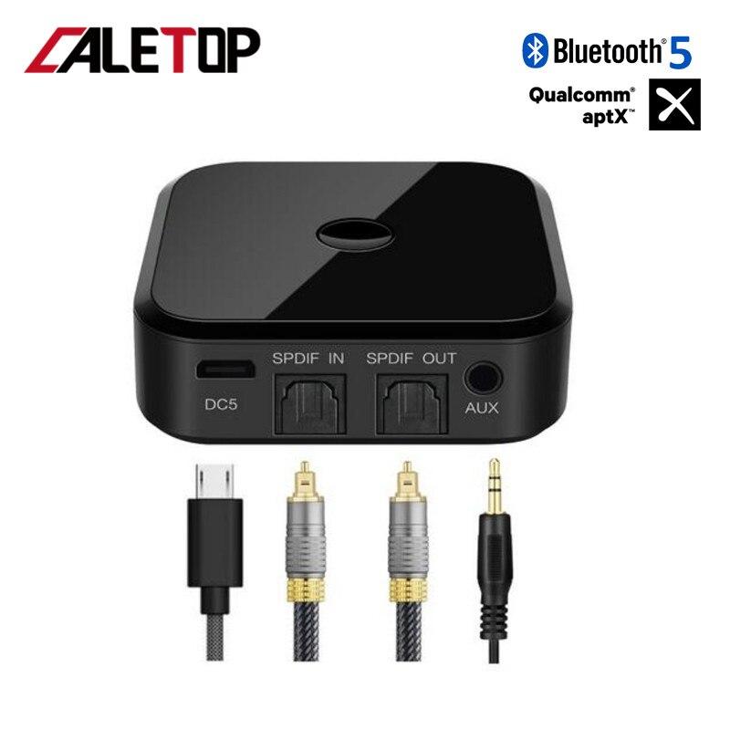 CALETOP APTX Bluetooth 5.0 adaptateur CSR8670 BT récepteur et émetteur Bluetooth pour TV PC HIFI Audio 3.5mm Fiber optique SPDIF