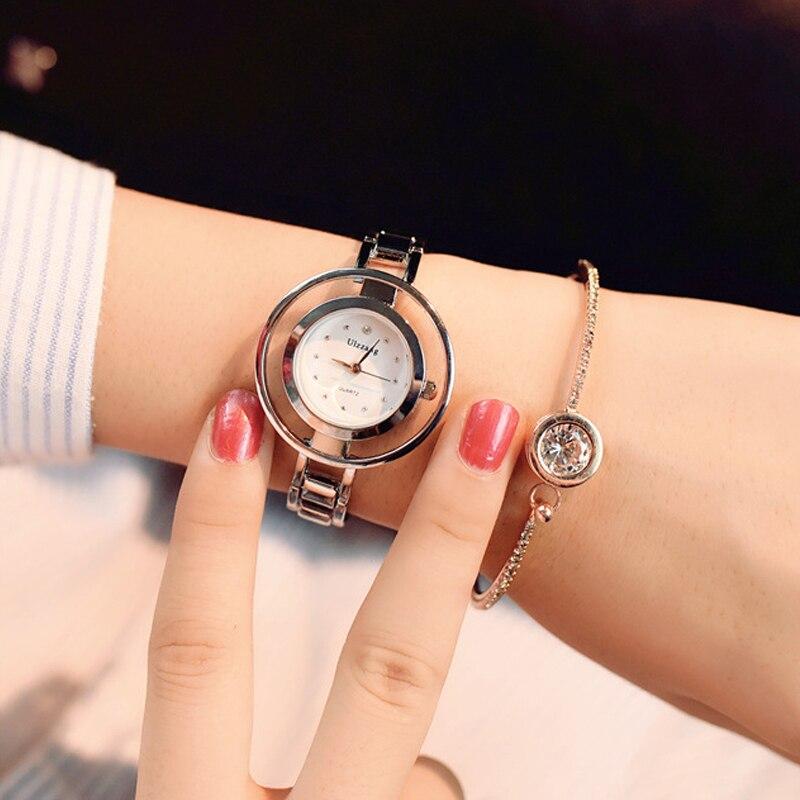 ulzzang 2017 Unique Fashion Brand Quartz Watch Women female Dress Girls Bracelet Bangle Casual Double Ring steel wristwatch brand unique толстовка