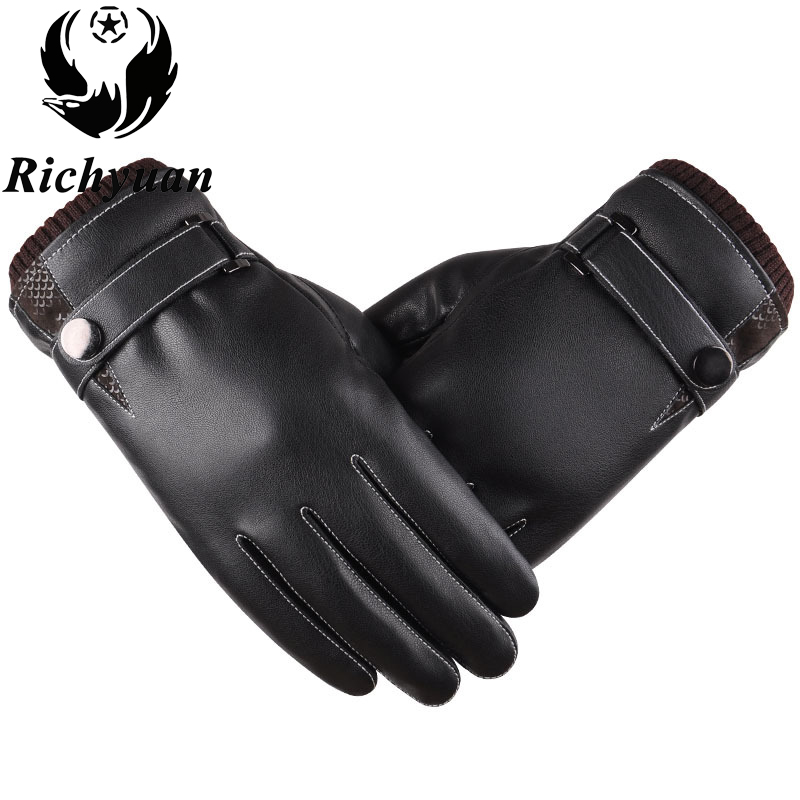 Men's Genuine Leather Gloves Real Sheepskin Black Touch Screen Gloves Button Fashion Brand Winter Warm Mittens New