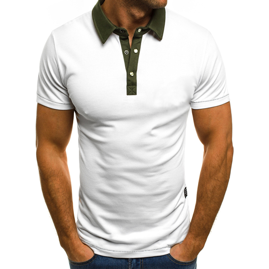 T-shirt Men Summer Fashion Button New Pure Color Short Sleeves Lapel Top business Comfortable Gift NEW 2019 Clothes c0328