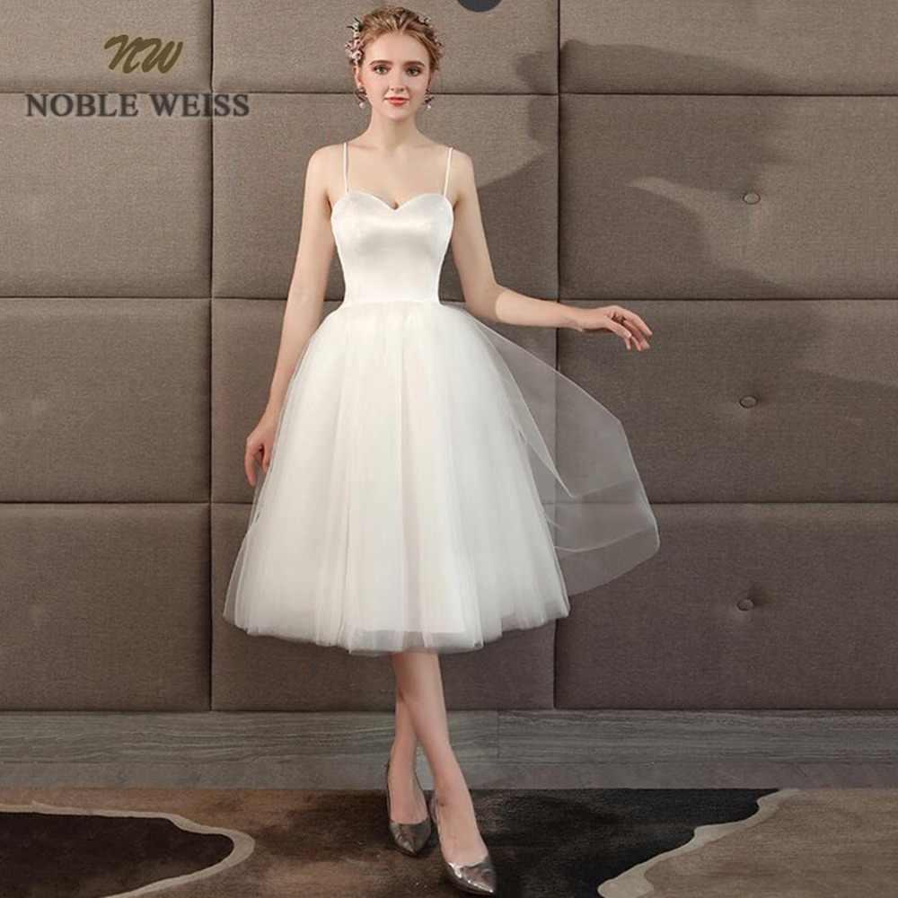 חתונת שמלת 2019 מתוקה טול חוף חתונת שמלה פשוט קצר חתונת שמלת אונליין חשוף חזור כלה שמלה