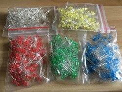 500 Pz/lotto 3 MM Diodo LED Kit Misto Colore Rosso Verde Giallo Blu Bianco