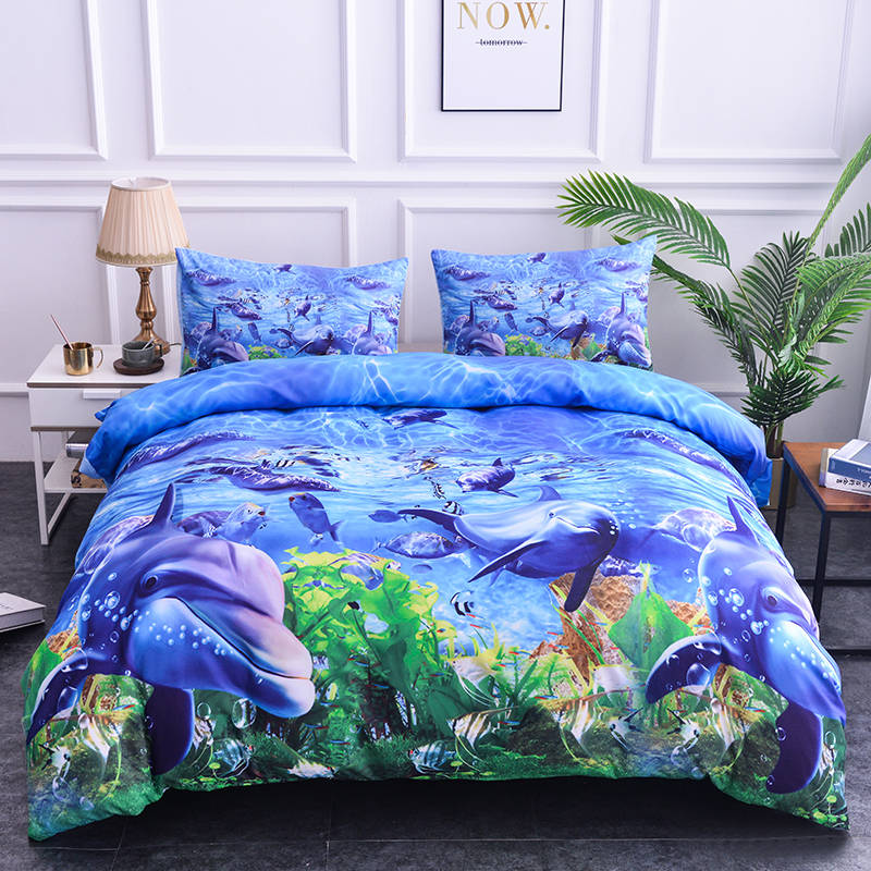 Boniu 3D Animal Soft Comforter Bedding Set For Kids Dolphin/Owl/Mickey Mouse/Lion/Leopard Quilt Cover with Pillow Cases Cover