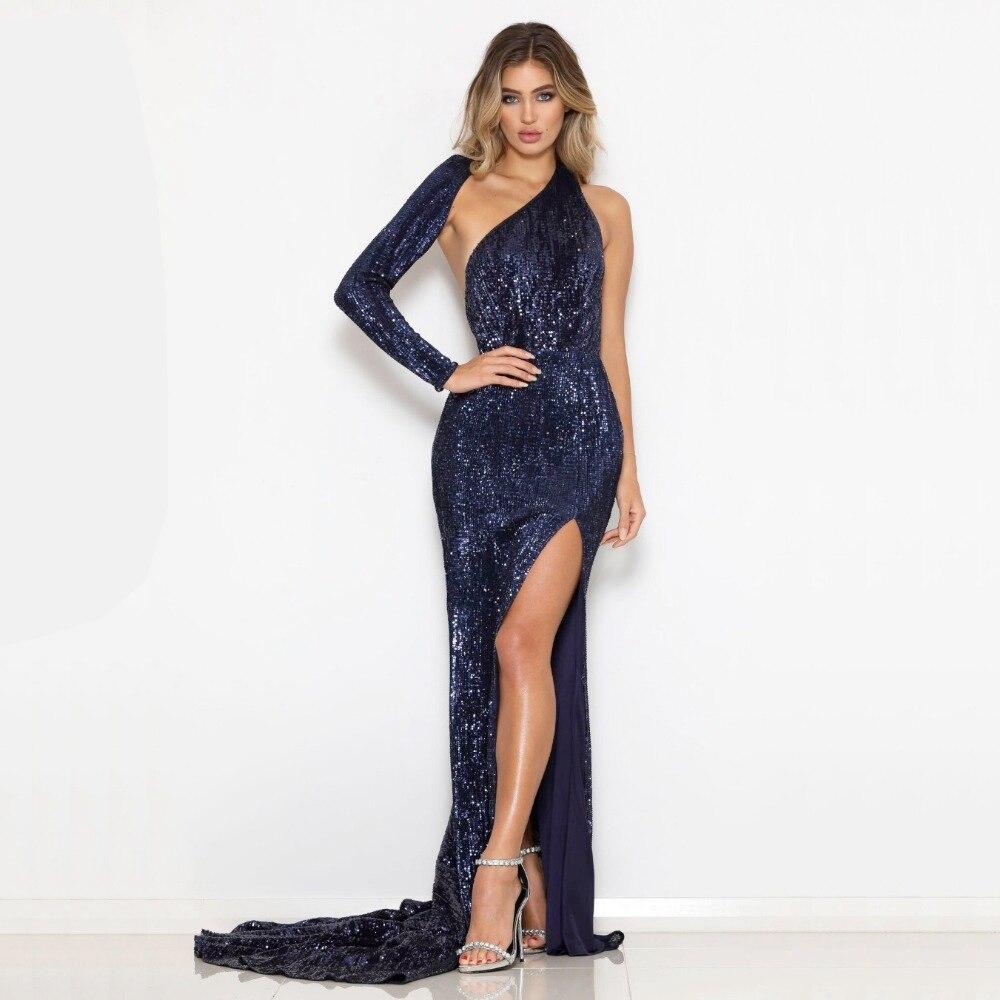 2018 nouvelle mode Hoy vente une épaule élégante Sequin longue robe pour fête Cocktail tenue célébrité femmes robes en gros