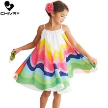 Little Girls Summer Dress Toddler Kids Baby Girls Rainbow Stripe Sleeveless Sling Strapless Loose A-line Dresses Princess Dress цена 2017