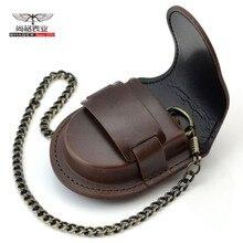 Модная мужская задняя коричневая крышка винтажная Классическая карманная коробка для часов чехол для хранения портмоне сумка с цепочкой