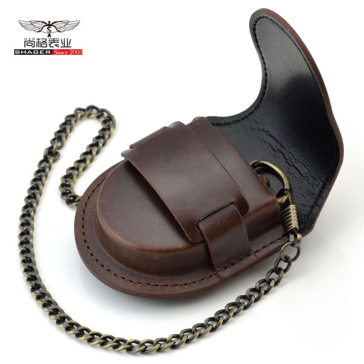 Fashion Male Back Brown Cover Vintage Classic Pocketed Watch Box Holder Storage Case Coin Purse Pouch Bag With Chain