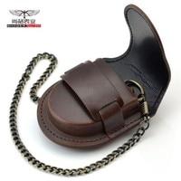 Fashion Mannelijke Rug Bruin Cover Vintage Klassieke Zakhorloge Doos Houder Storage Case Coin Purse Bag Met Ketting