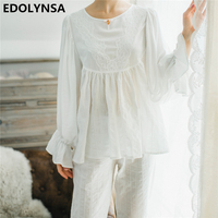 2017 Pyjamas For Women Solid Pajama Sets Cotton Women White Home Wear Sexy Indoor Clothing Long