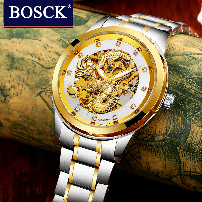 BOSCK Men Business Mechanical Watches Men Dragon Tourbillon Automatic Watches Men Gold Stainless Steel Waterproof Relojes Hombre цена