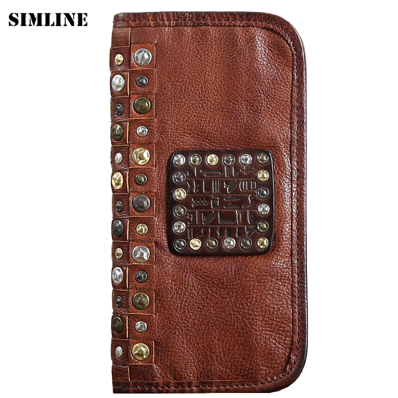 Luxury Brand Genuine Vegetable Tanned Leather Cowhide Men Men's Long Wallet Wallets Purse Card Holder Coin Pocket Zipper For Man luxury brand vintage handmade genuine vegetable tanned cow leather men women long zipper wallet purse wallets clutch bag for man