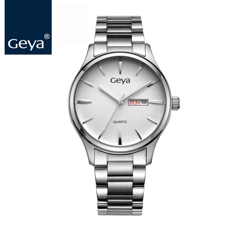 Geya Men Watch 2017 Brand Luxury Quartz Male Analog Auto Date Wristwatches montre homme marque de luxe Role Steel Band Men clock 486299 001 motherboard tested by system lap connect board