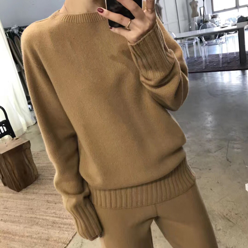 2019 Rushed Full New Cashmere Suit Women's Knit Wide-leg Pants And Loose Lazy Thick Round Neck Sweater Two-piece Warm Women