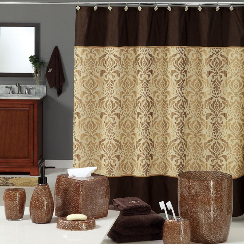 Sterling Brown Shower Curtain Chocolate Polyester Fabric Vintage