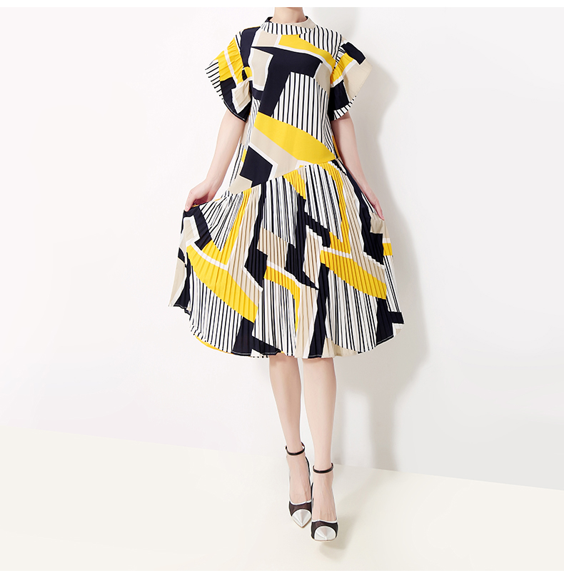 New Fashion Style Yellow Striped Printed Dress Fashion Nova Clothing