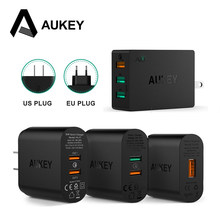 AUKEY Quick Charge 2.0 Fast Mobile Phone Charger Adapter USB Desktop Wall Charger Smart Quick Charger for iPhone Samsung Xiaomi(China)
