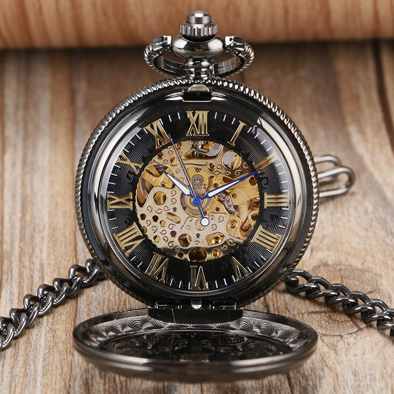 Luxury Black Stylish Vintage Roman Numerals Skeleton Hollow Automatic Mechanical Pocket Watch for Men Women Anniversary Gifts luxury steampunk hollow skeleton mechanical pocket watch roman numerals dial vintage fob chain pendant clock men women gifts