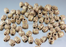 Top Rated!200pcs/9*8mm Acrylic Big Hole Imitation Natural Wood Print Classical Beads For Necklace / Bracelet DIY
