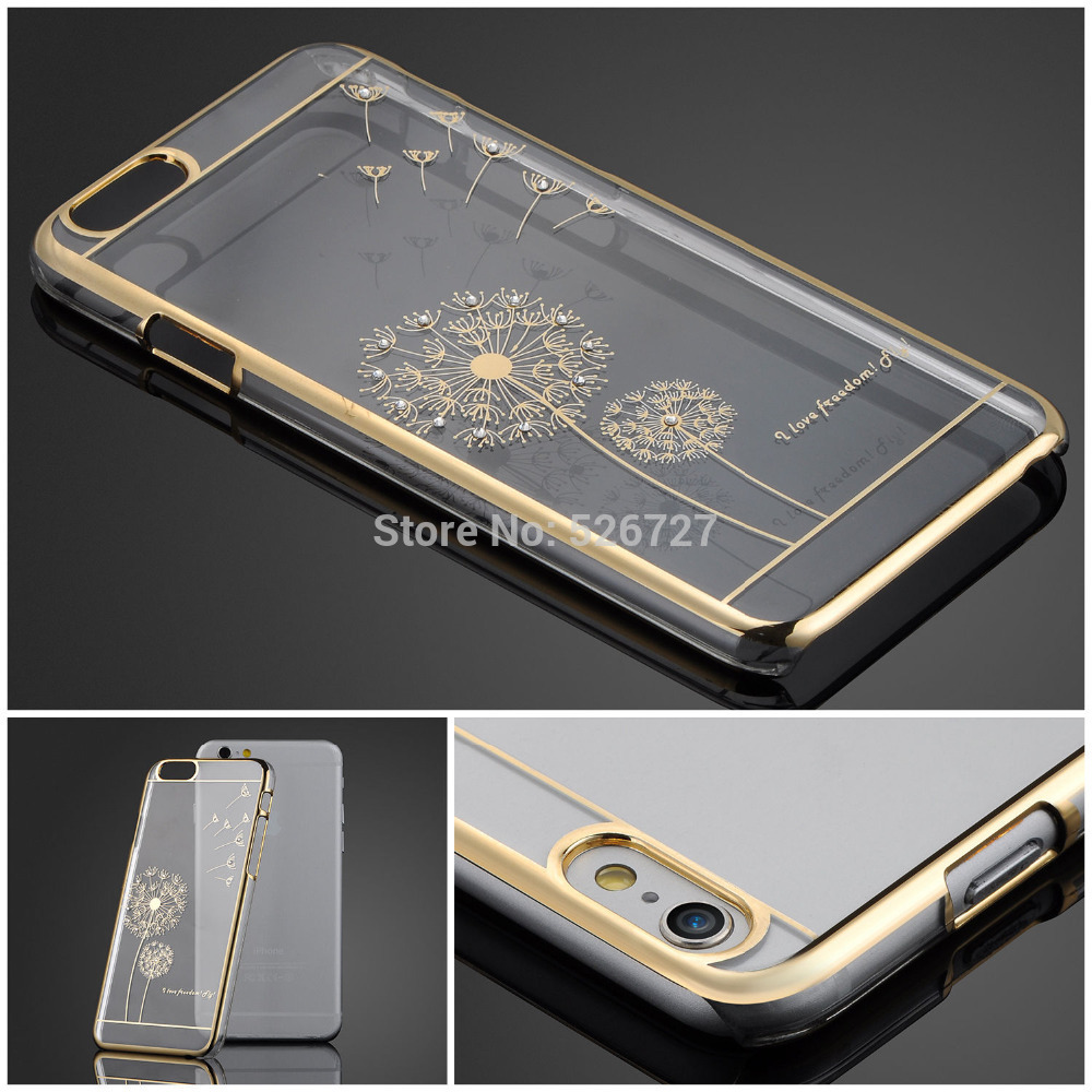 Ultra Slim Luxury Crystal Diamond Bling Transparent Electroplate Back Case Cover For Apple iPhone 6 6s 4.7 inch Phone Bag