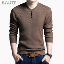 E-BAIHUI New Autumn Winter Fashion Brand Clothing Mens Sweaters V-Neck Slim Fit Men Pullover Cotton Knitted Sweater 156618